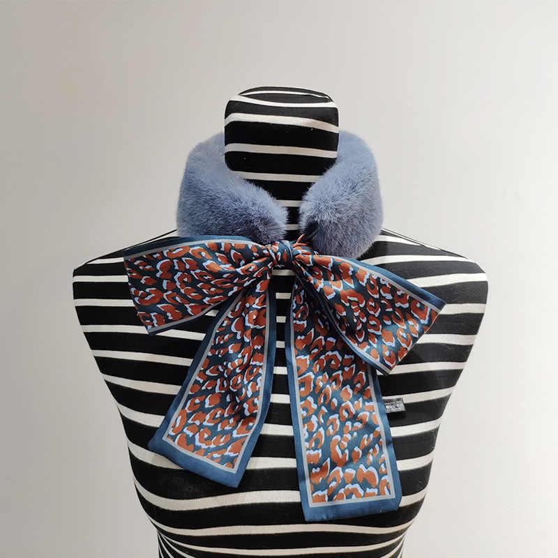 Pelliccia Del Coniglio delle donne Hostess Sciarpa di seta Del Nastro del collare del maglione Del coniglio del Faux arco b12
