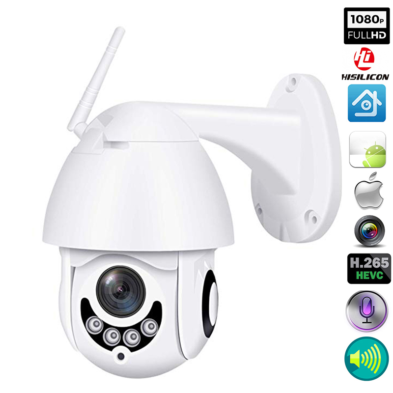 Outdoor PTZ Waterproof IP Camera 2-Way Audio Wireless Wifi H.264X 1080p Speed Dome Security Camera CCTV High Quality PC Camera