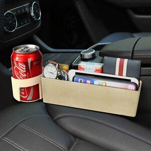 Image 4 - רכב מושב נקיק אחסון תיבת חריץ רב פונקציה ארגונית רכב מתקפל מרופד מחזיק כוס רכב פנים אביזרי רכב אחסון