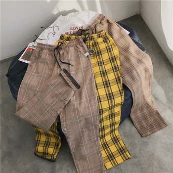 Privathinker Men Women Korean Black Plaid Casual Pants 2021 Mens Streetwear Harem Pants Male Checkered Trousers Plus Size 1