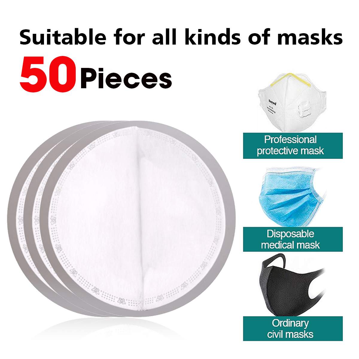 50Pcs Masks Gasket Disposable Anti-Dust 3-layer Melt-blown Cloth Replacement Mask Pads For kf94 N95 KN95 All Face Masks 1