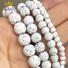 Koraliki z naturalnego kamienia białe lawa hematyt kule do tworzenia biżuterii skały wulkaniczne koraliki DIY bransoletka kolczyki 15''4 6 8 10mm