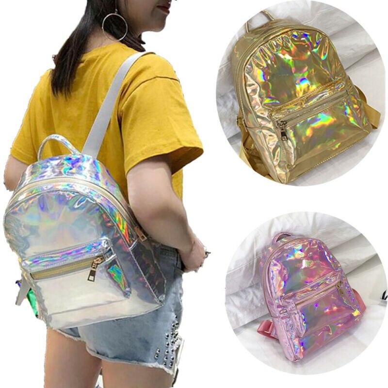 Hot Fashion Women Girl Laser Hologram Holographic Backpack Rucksack PU Leather Schoolbag Bags Pink Silver Gold