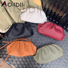 The Pouch Real Leather Woven Envelope Bag Knitting Luxury Women Bags