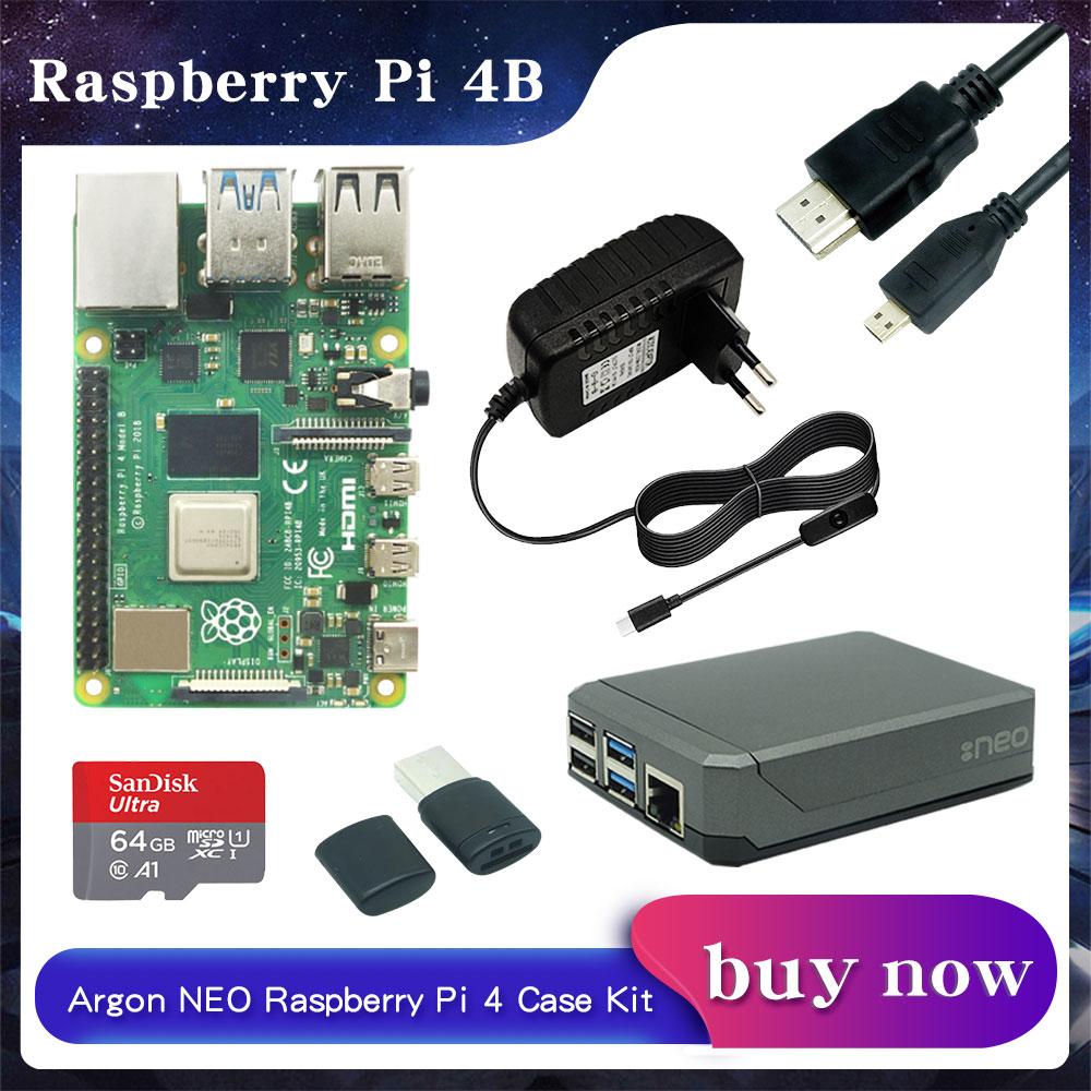 Raspberry Pi 4 Модель B 2 ГБ/4 ГБ/8 Гб RAM + алюминиевый чехол с аргоном NEO + адаптер питания + sd-карта 32/64 ГБ + Кабель Micro HDMI для RPI 4