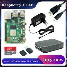 Raspberry pi 4 modelo b 2gb/4 gb/8gb ram + argônio neo alumínio caso adaptador de alimentação + 32/64 gb cartão sd + micro cabo hdmi para rpi 4