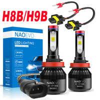 NAO-bombilla LED H8B para faro delantero de coche, Luz antiniebla superbrillante, 6400Lm, 30W, 12V, 6000K, blanco, alta potencia, para motocicleta