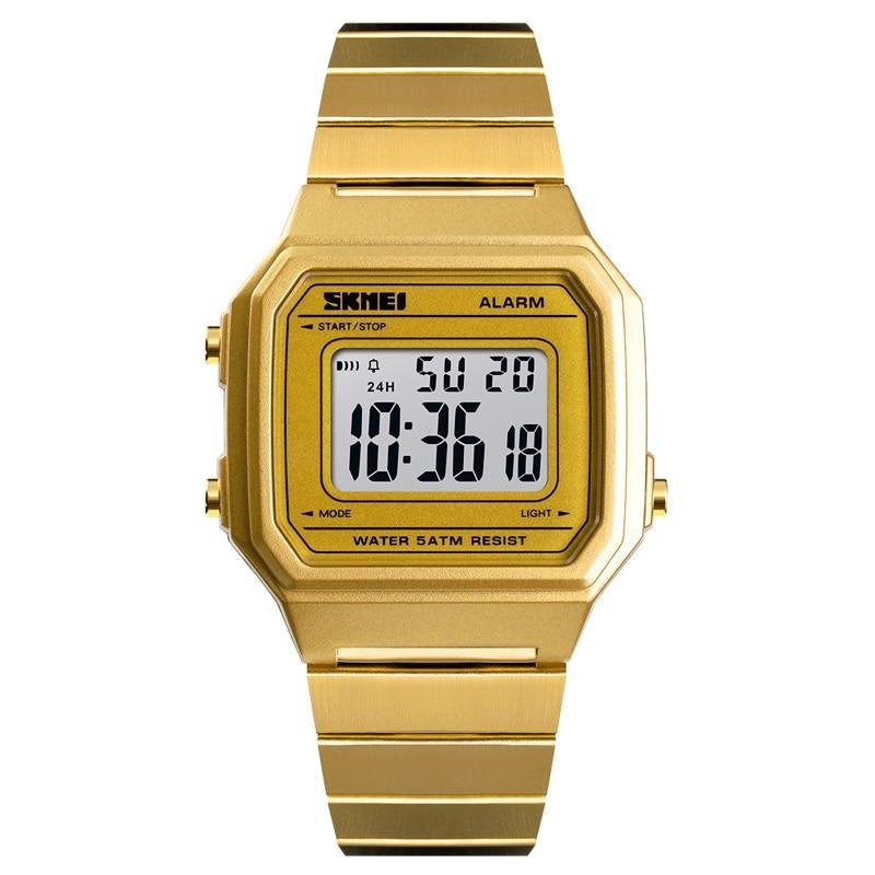 Marca de Topo dos Homens Relógio de Luxo em Aço Relógio de Pulso Skmei Inoxidável Digital Display Eletrônico Pulseira Homens Relógio Cronógrafo Luminosa