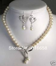 "hot Free shipping@@true 7-8mm Freshwater Pearl 18"" necklace Earring set (A0423)(China)"