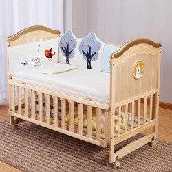 Кроватка из цельного дерева, Неокрашенная детская кровать bb, многофункциональная детская стеганая кровать для новорожденных