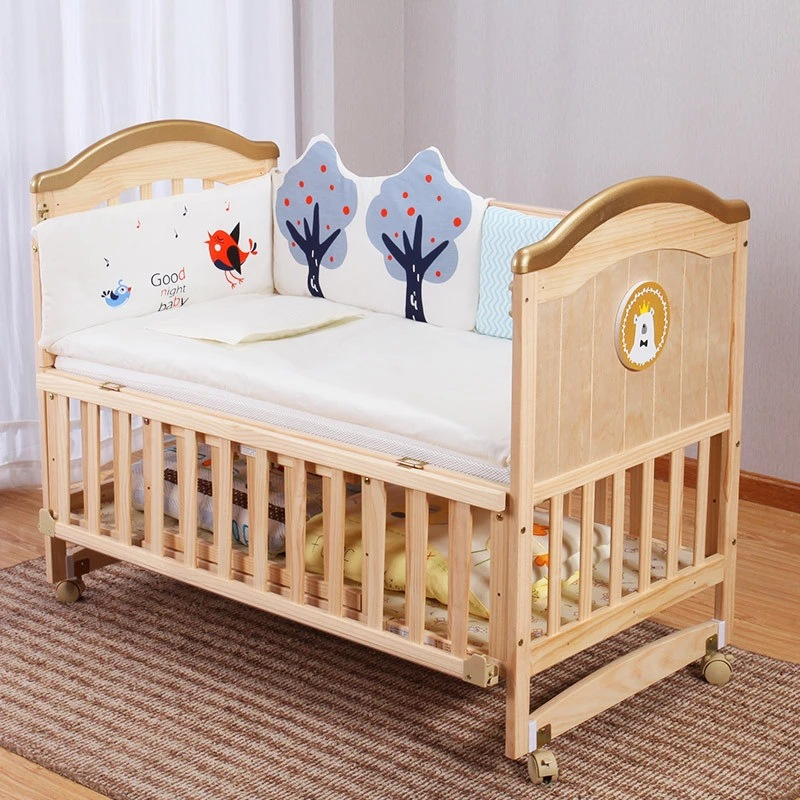 Krippe massivholz unlackiert baby bb bett wiege bett multifunktionale kind neugeborenen kleinkind nähte bett-in Kinderbetten aus Möbel bei title=