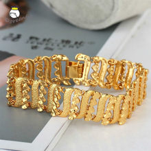 Charms Fine Jewlery Men's Jewelry Punk Bracelet Curb Cuban Chain 24K Gold Color Bracelets Bangle For Men Women Gifts Party(China)