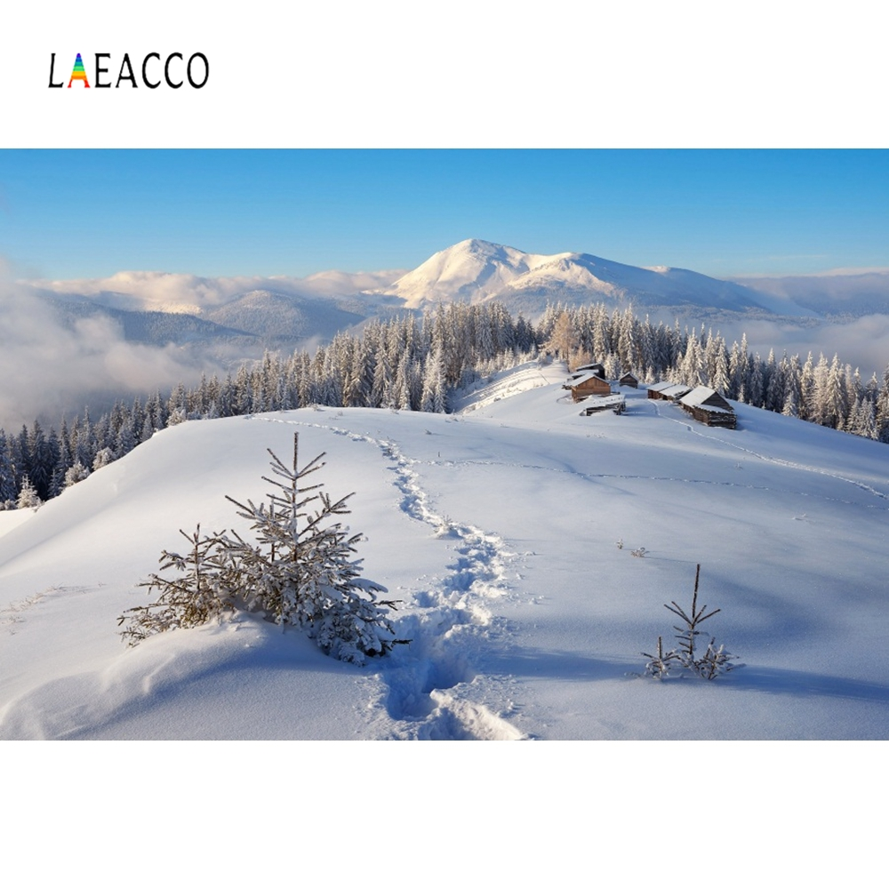 Laeacco Snow Mountain House Jungle Portrait Scene Photographic Backgrounds Customized Photography Backdrops For Photo Studio