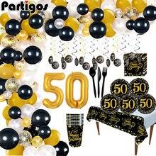 Ballon noir doré Cheers to 50 ans, décorations de fête d'anniversaire 50 ans, fournitures pour adultes, anniversaire de mariage