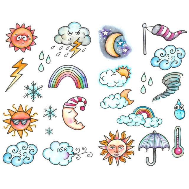 1 Pcs Cute Face Weather Icon Decor Korean Aesthetic Bullet Journal Stickers Scrapbooking Stationery Sticker Flakes Art Supplies Assorted Stickers Aliexpress