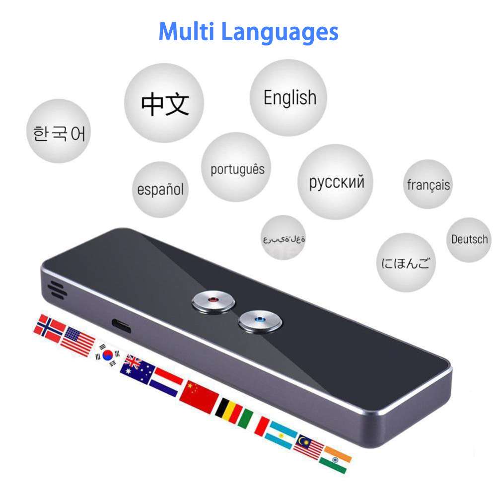 Portable Smart voice translator Two-way 41 multilingual translation to learn how to travel 2 in 1 voice Text business translator image