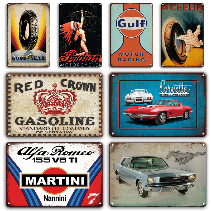 2x Retro Car Motor Metal Tin Sign Wall Art Poster Garage Pub Hanging Decor
