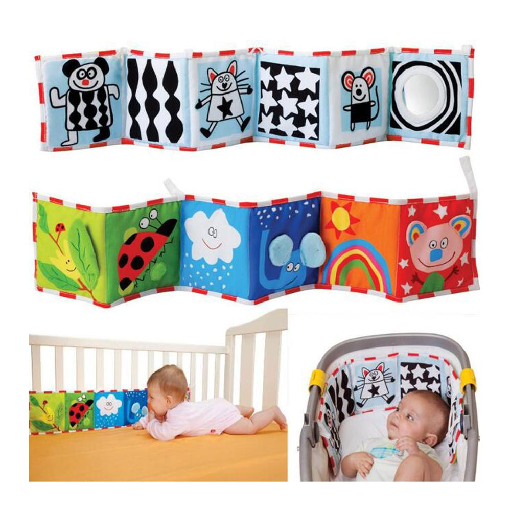 Baby Cloth Book Double Sided Cartoon Pattern Infant Early Learn Educational Fabric Books Soft Washable Bed Hanging Kids Book Toy