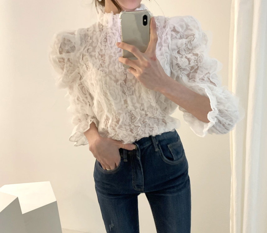 H0b4fa30ae8de49a2bfb902cdd3e33f444 - Spring / Autumn Stand Collar Puff Sleeves Mesh Lace Crochet Flower Blouse