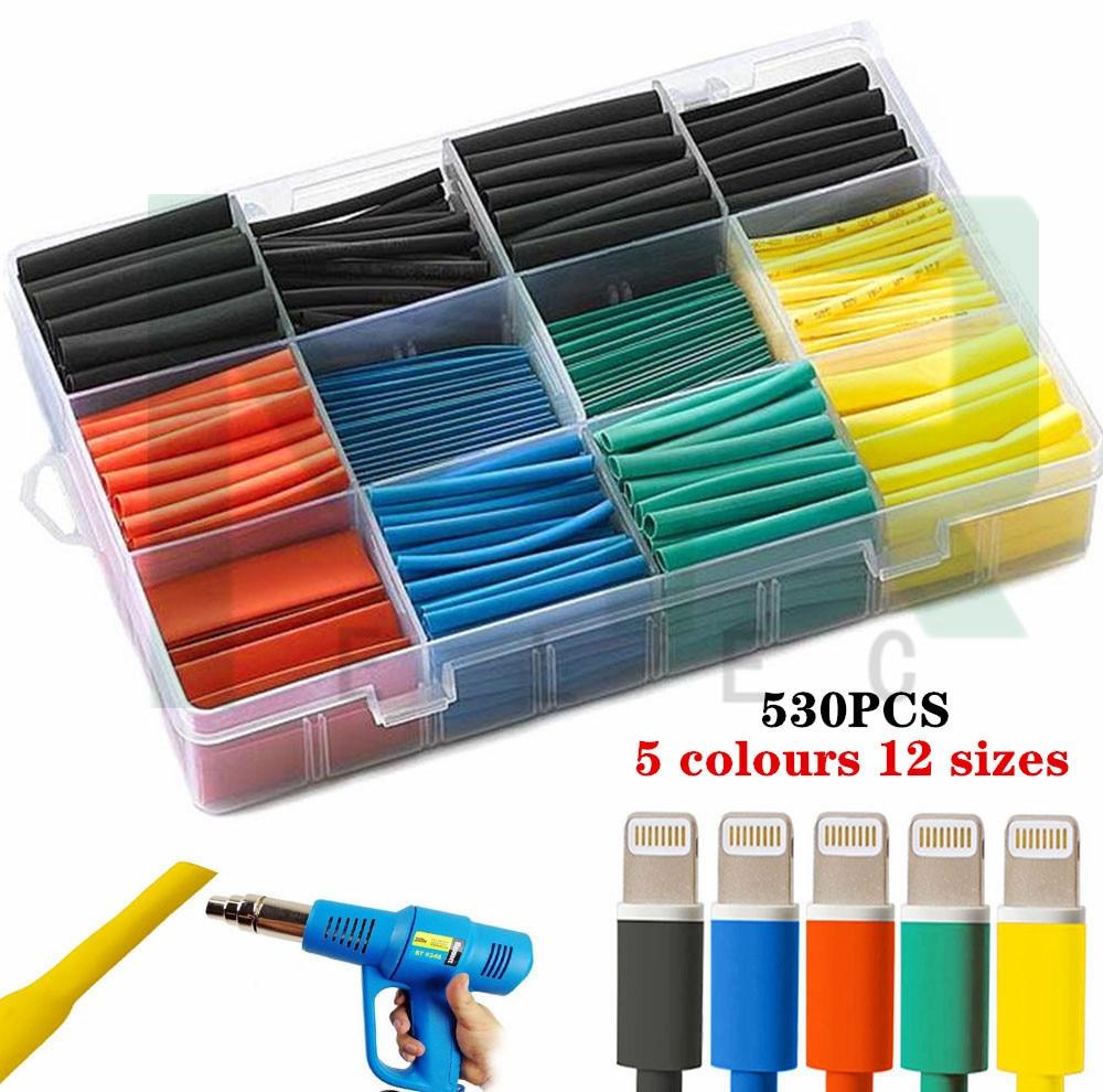 530PCS Schrumpf 5 farben 12 größen Assorted Polyolefin Schrumpf Schlauch Kabel Hülse Wrap Draht Set Isolierte Schrumpf rohr