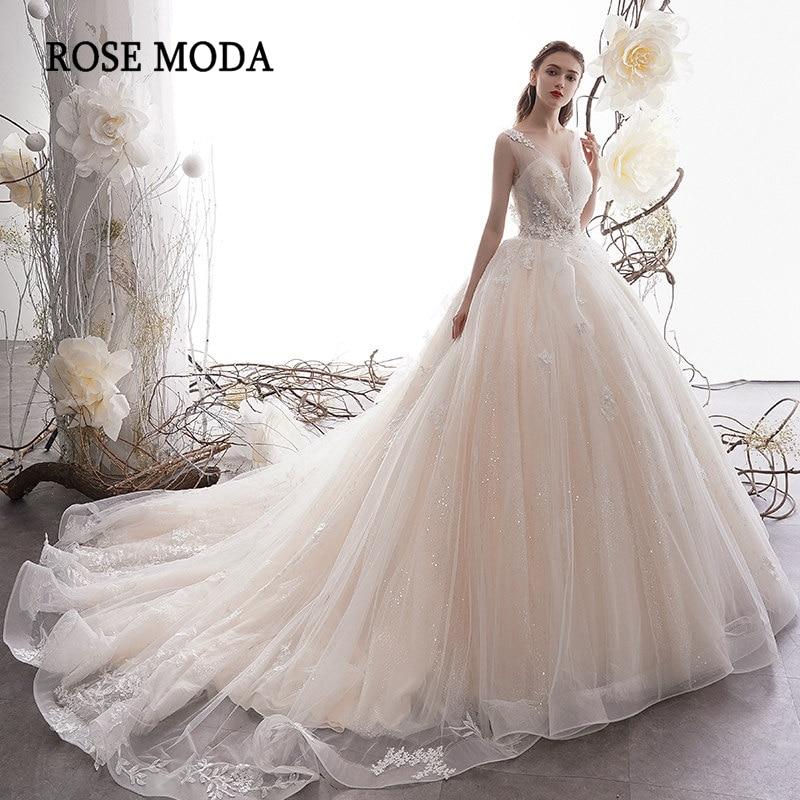 Rose Moda Luxury Glittering Wedding Dress 2020 Princess Wedding Ball Gown With Laces Long Train Custom Make