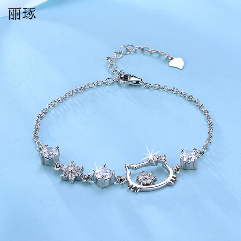 Animated Kitty Bracelet Female Inlaid with Colored Zirconium Jewelry Cute Simple Japanese Valentine's Day Gifts on February 14