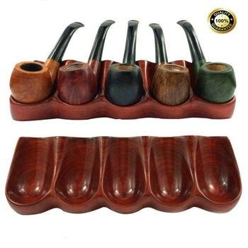 독특한 5 개의 파이프를 보유 단단한 붉은 나무 담배/흡연 파이프 스탠드/랙/홀더 선물 새로운