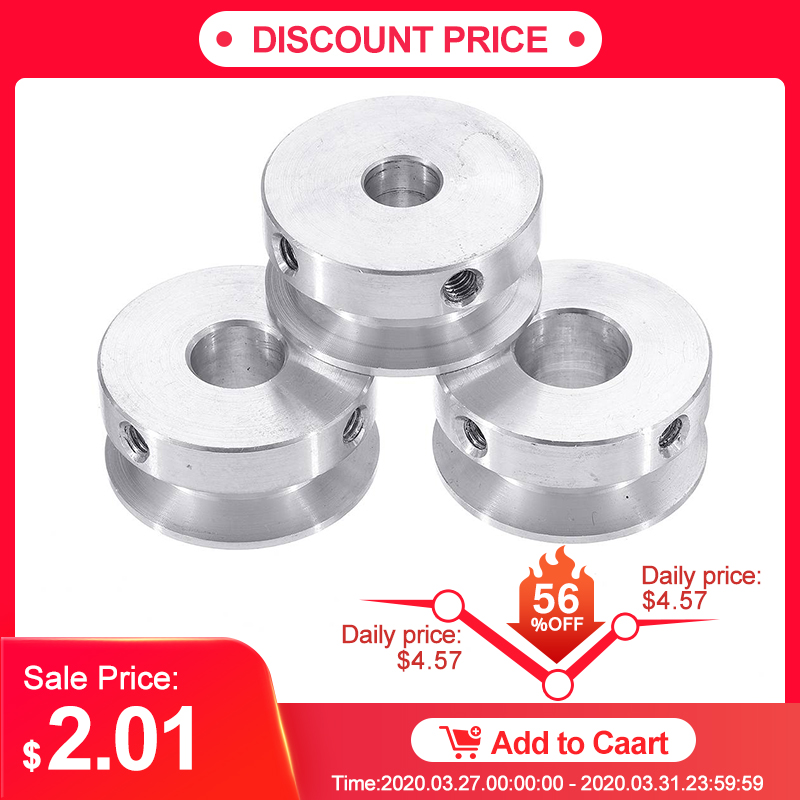 Silver Aluminum Single Groove Fixed Bore Pulley 20x15x10MM for 6MM Belt