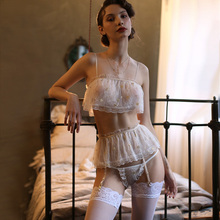 Сексуальная кружевная прозрачная пижама из тюля для женщин, летние Соблазнительные Топы на бретельках с открытой спиной и трусики с подвязкой, модная домашняя одежда