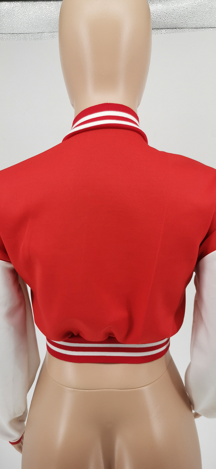 H0b503d0ed546431f8afb788b425fcf7eT Baseball Jackets for Women 2021 Autumn Letter Print Color Patchwork Cropped Long Sleeve Loose Short Bomber Jacket