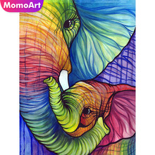 MomoArt Diamond Painting Elephant Mosaic Animal Diy Embroidery Full Drill Square Rhinestone Home Decor