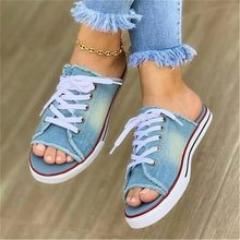Hollow Out Ademend Slippers Vrouwen Slippers Zomer Sandalen Platte Vrouwen Canvas Casual Schoenen Lace Up Slippers Muilezels Zwart Blauw(China)