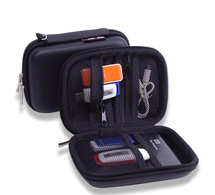 Sac de transport en cuir PU, coque rigide pour disque U, carte SD, clés USB, iPhone 5 5s, clé USB