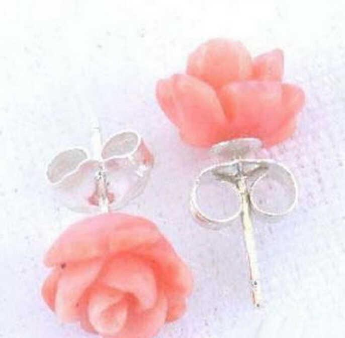 720>> สีชมพูสีแดง Coral Rose ดอกไม้ 925 เงินสเตอร์ลิงสตั๊ดต่างหู
