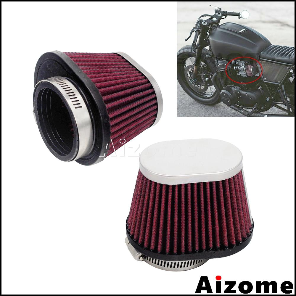 Universal Motorcycle 48mm 52mm Air Cleaner Oval Pod Filter For Honda Yamaha Kawasaki Suzuki Cafe Racer CB CG GS Red Air Filter