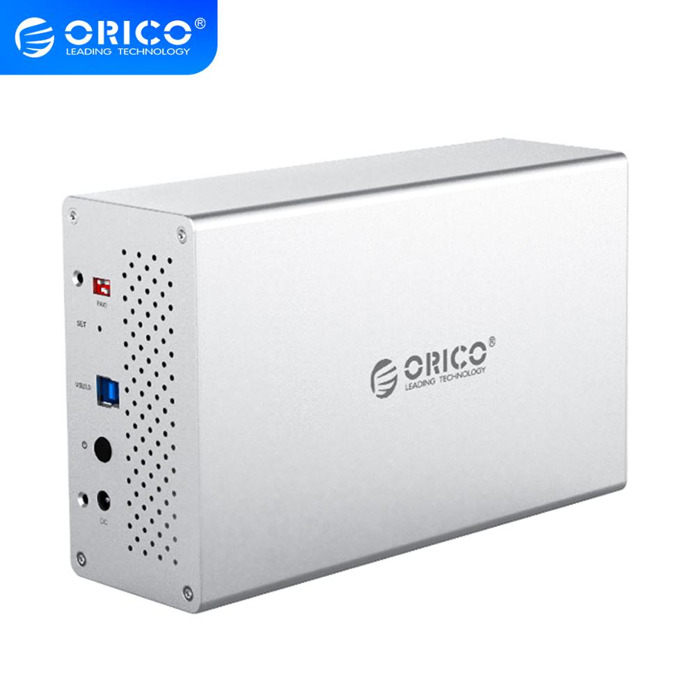 ORICO WS Series 2 Bay 3.5'' USB3.0 Hard Drive Case With Raid Aluminum 5Gbps HDD Enclosure With 12V Power Adapter Support 20TB