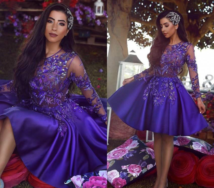 Saudi Arabic   Cocktail     Dresses   2019 Dark Purple A Line Knee Length Girls Graduation Homecoming Party Gowns Plus Size Custom Made