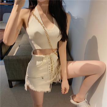 Summer Women 2pcs Set Sexy Halter Open Back Knitted Short Tops + Drawstring Tassel Denim Shorts Party Beach Two Piece Suit - discount item  30% OFF Women's Sets
