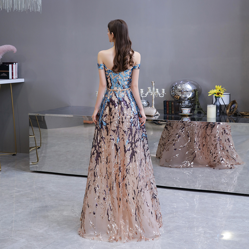 Sexy Sweetheart Evening Dresses 2020 Off the shoulder A-Line Colorful Sequin Formal Dress Long Prom Gowns