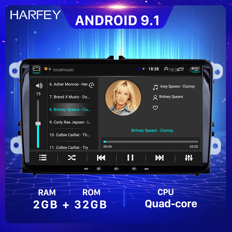 Harfey 2+32G Car Radio GPS 9inch 2din Android 9.1 car multimedia Player for VW Volkswagen SEAT LEON CUPRA Skoda <font><b>Passat</b></font> b5 <font><b>b6</b></font> CC image