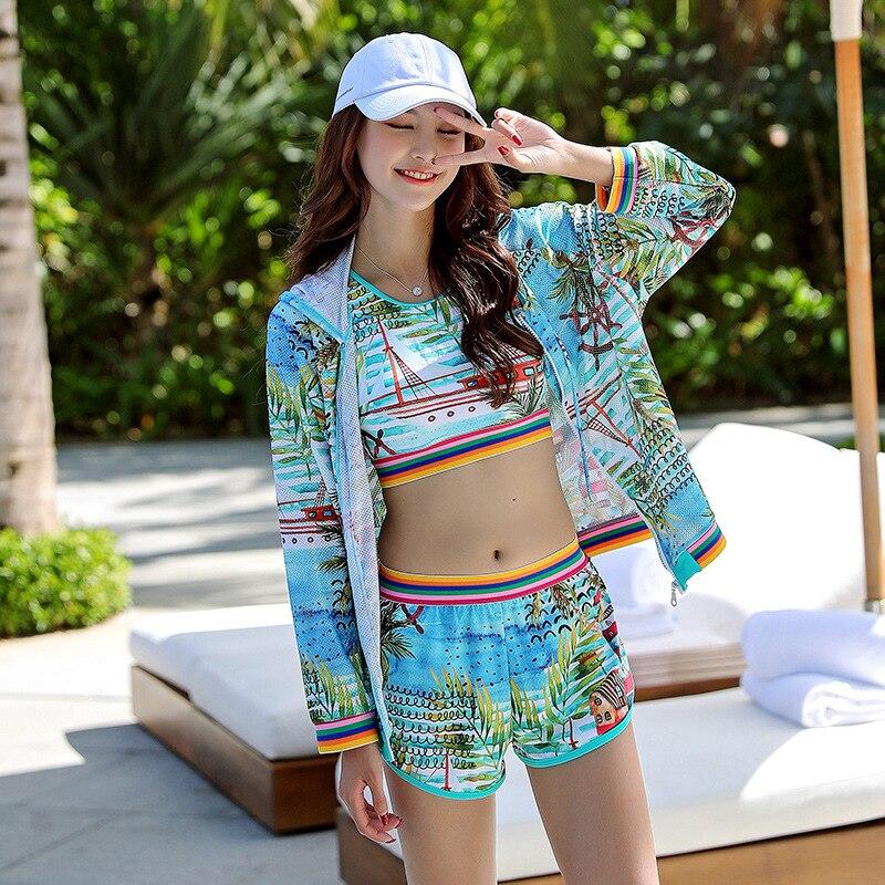 Sports Bathing Suit Women's 2019 New Style Belly Covering Slimming Conservative Boxer Bubble Hot Spring Swimwear Split Type Biki