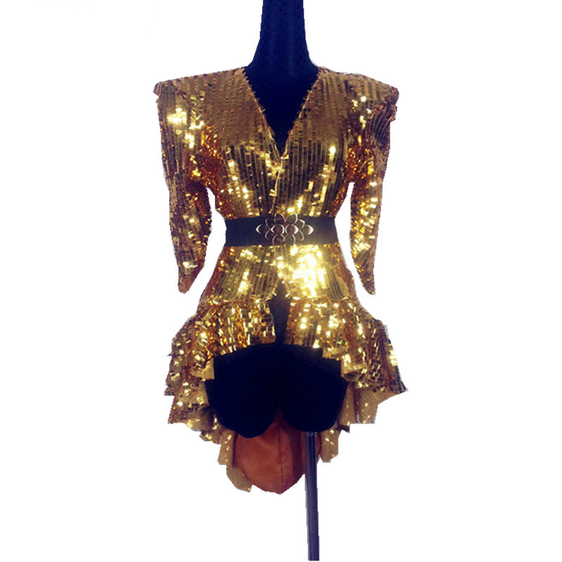 Shining Silver Gold Sequin Bodysuit Overcoat Singer DJ DS Dance Costume Stage Dancer Performance Sexy Nightclub Show Tail Skirt