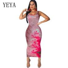 YEYA Vintage Print Boho Dress Women Sleeveless Hollow Out Sexy Beach Maxi Summer Vestidos Femme Club Party Long Dresses