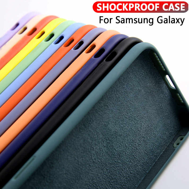 Kasus Silikon Cair untuk Samsung S20 A51 A71 A50 A70 A21S A31 A20 A81 A91 Solid Permen S8 S9 S10 note8 9 10 Plus Shockproof Cover