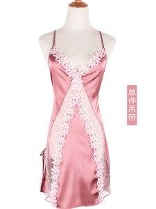 Image 5 - Пикантная шелковая ночная рубашка с цветами, летнее тонкое кружевное платье для сна с открытой вилкой и вырезами, кокетка, женская одежда для сна