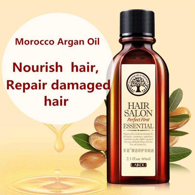 60ml Lady Dry Hair Care Moroccan Pure Argan Oil Hair Moisturizing Essential Oil