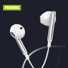 POLVCDG White In-ear Mic 3.5mm HiFi Sports Music D2 Earbuds With Wheat Line Control Sub Woofer Earphones