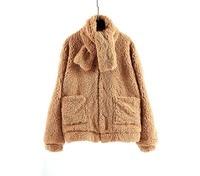 Soft Zipper Fur Jacket With Scarf Female Plush Overcoat Casual Pocket Outwear teddy cozy Fashion Warm Lambwool Fur Coat Women