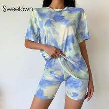 Sweetown Casual Tie Dye Two Piece Set Matching Sets Women Clothing Short Sleeve Oversized Tshirt And Shorts Set Track Suits