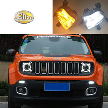 For Jeep Renegade 2016 2017 2018 LED Daytime Running Light Fog Lamp Cover DRL Front Bumper Lights with Yellow turn signal lamp osmrk led drl daytime running light for jeep renegade with yellow turn signal wireless switch control